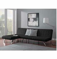 New! Black Leather Futon Sofa Couch Bed Sleeper W/ Chaise Lounger Living Room