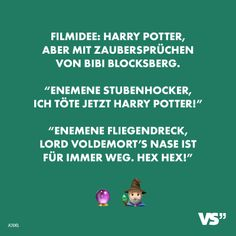 """Visual Statements® film idea: Harry Potter, but with Bibi Blocksberg spells. """"Enemene couch potato, I'm killing Harry Potter now! Harry Potter Now, Harry Potter Facts, Memes Humor, Jokes, Lord Voldemort, 9gag Funny, Picture Gifts, Visual Statements, Funny Gifts"""