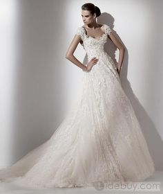 Stunning A-line/Princess Capped-Sleeves Floor-length Court Appliques Wedding Dresses  (Free Shipping)
