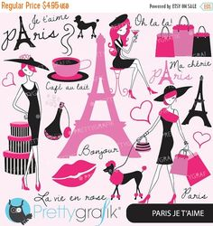80% OFF SALE paris fashion clipart for by Prettygrafikdesign
