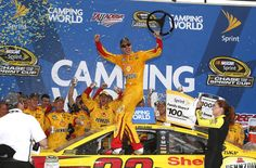NASCAR: Joey Logano scored a third-straight NASCAR Sprint Cup victory in a dramatic finish at Talladega, completing a clean sweep of the second part of the 2015 Chase. RACER.com