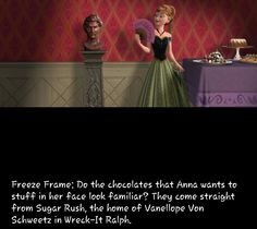 Frozen Easter Egg: Wreck-It Ralph candy! Disney Love, Disney Magic, Disney Frozen, Disney Pixar, Walt Disney, Disney Easter Eggs, Disney Fun Facts, Disney Theory, Vanellope Von Schweetz