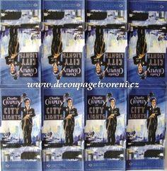 Ubrousky 33 x 33 cm | Film, hudba, malíři | Charlie Chaplin | Decoupage, ubrousky, dekorace, Twist Art Charlie Chaplin, Decoupage, My Fb, Fb Page, Paper Napkins, City Lights, Film, Photo Wall, Facebook