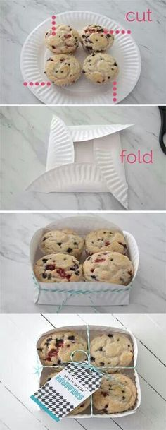 Make a gift box out of a paper plate. Use for muffins, cookies, or other homemade treats in a festive and cheap way. Ideias Diy, Kirigami, Food Gifts, Paper Plates, Paper Plate Box, Styrofoam Plates, Paper Cups, Homemade Gifts, Homemade Cookies