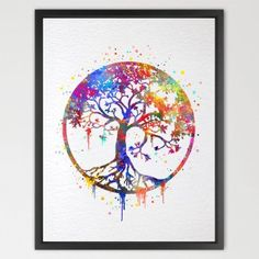 Dignovel Studios 8X10 Tree of Life Watercolor Art Print Wall Art Poster Wedding Gift Nursery Nature