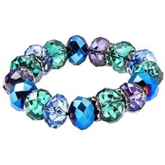 Teal Multicolored Glass Stretch Bracelet ($17) ❤ liked on Polyvore