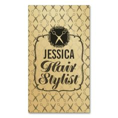 Vintage GOLD Scissors Hair Stylist Appointment Business Card Templates. This is a fully customizable business card and available on several paper types for your needs. You can upload your own image or use the image as is. Just click this template to get started!