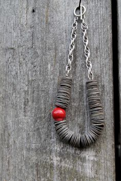 Necklace Red Ceramic Gray Shell by DreamsFactory