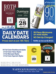 Daily Date Calendars, Low Cost - Refillable