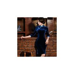 3/4-Sleeve Short Cheongsam ($62) ❤ liked on Polyvore featuring dresses and women