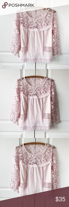 Anthropologie Guest Editor Vintage Pink Lace Shirt A lovely vintage-inspired Anthropologie top with intricate lace detail. Cotton. Like new condition. Anthropologie Tops