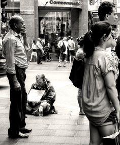 Homeless in Market Street, in front of a Bank, Sydney, Australia