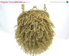 SALE Vintage Formal Purse  Gold Fringe by VintageInBloom on Etsy, $27.00
