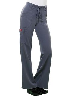 Style Code: (DI-82011)  A Junior fit, mid-rise, moderate flare leg pant that features an adjustable drawstring with full elastic waist, belt loops with decorative logo eyelet snaps. Also featured are two patch pockets with pen slots in the right pocket, a cargo pocket with self loops and a logo eyelet snap. A back leg seam gives a flattering shape, and a back pocket and side vents complete the look.