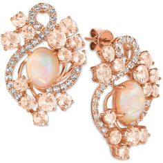 Le Vian Crazy Collection Peach Morganite (3-1/5 ct. t.w.), Opal... ($4,800) ❤ liked on Polyvore featuring jewelry, earrings, jewelry sets, rose gold, 14k stud earrings, le vian jewelry, le vian earrings, peach earrings and 14 karat gold jewelry