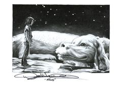 Never Ending Story Falcor and Atreyu Drawing A4 Print by Coral Briglia (Signed by Noah Hathaway)