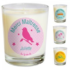 bougie-parfumee-personnalisee-merci-maitresse Candle Jars, Candles, Diy Cadeau, Diy For Kids, Teacher Gifts, Shot Glass, Printables, Homemade, Activities