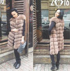 "New arrivals Autumn Winter  Women""s Long  100  CM natural fox fur vests real fur vests coat Luxury genuine fox fur  vests"