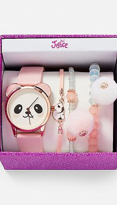 Ideas for Decorating a Bedroom in a Panda Theme Justice Accessories, Kawaii Accessories, Girls Accessories, Hand Jewelry, Girls Jewelry, Cute Jewelry, Tween Girls, Toys For Girls, Stylish Watches For Girls