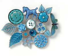 Grainne Morton blue horse collage brooch