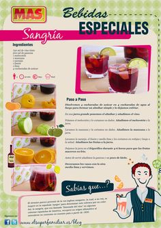 Receta De Sangría | Supermercados MAS Blog Juice Smoothie, Smoothies, Quick Recipes, Healthy Recipes, Chilean Recipes, Bar Drinks, Food Humor, Kitchen Recipes, Easy Cooking