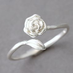 Sterling Silver Rose and Leaves Ring Wrap from Kellinsilver.com