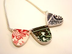 NECKLACE  -Triple Ceramic Flag Pendant.. Recycled. Upcycled.Vintage Pottery .Red.Green.Black. Retro. Hand made and One off