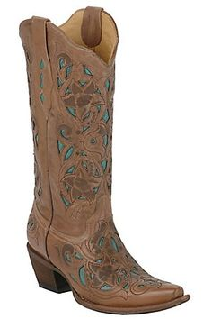 A necessity if we move back to Texas. (Corral® Ladies Tan Floral w/ Turquoise Inlay Western Boots)