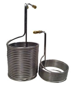 """Stainless Steel Immersion Wort Chillers available.  25 ft 3/8"""" coil and 50 ft 1/2"""" coil version  http://www.angelhomebrew.co.uk/en/19-wort-chillers"""