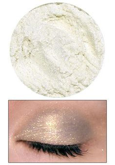 Eyedust in Nymph- Natural, vegan-friendly eyeshadow shade. Shimmery white dust with tiny sparks of gold created by Lime Crime Makeup. You can layer it over other eye shadow to add a golden sheen or apply it by itself as a highlighter color that accents the brow bone.#Repin By:Pinterest++ for iPad#