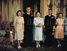 Princess Elizabeth, Lieutenant Phillip Mountbatten, her then fiance, her mother, then Queen Elizabeth, now the Queen Mother, and her father, King George VI, in a family photograph made shortly before the Princess's wedding.