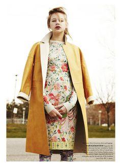 Bally coat; Mary Katrantzou dress and leggings.
