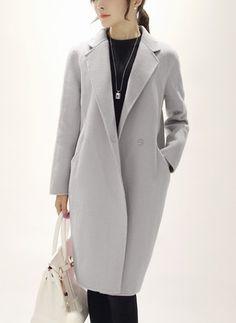 5c477f6c39 Wool   Wool Blend Long Sleeve Lapel Buttons Pockets Trench Coats Long Black  Winter Coat