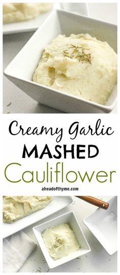 Garlic Mashed Cauliflower Creamy Garlic Mashed Cauliflower: Imagine having a nice big serving of mashed potatoes but with a quarter of the calories. Now you can with creamy garlic mashed cauliflower! Low Carb Recipes, Diet Recipes, Vegetarian Recipes, Cooking Recipes, Healthy Recipes, Think Food, I Love Food, Vegetable Dishes, Vegetable Recipes