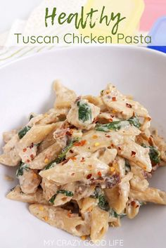 creamy and healthy Tuscan Chicken Pasta will satisfy your craving without the calories! It's an easy healthy chicken recipe that your family will love, and you can cook it in your Instant Pot, slow cooker, or on the stove. 21 Day Fix Tuscan Chicken Pasta Healthy Pastas, Good Healthy Recipes, Heathly Dinner Recipes, Healthy Suppers, Free Recipes, Healthy Food, 21 Day Fix, Can Chicken Recipes, Crockpot Recipes Pasta