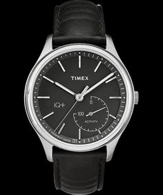 The Timex IQ+ Move is designed to look like a traditional analog timepiece. It tracks steps and distance, calories burned, and sleep habits, and can sync Gents Watches, Sport Watches, Fitness Watches For Women, Watches For Men, Perfect Date, Luxury Watches, Omega Watch, Black Silver, Smart Watch