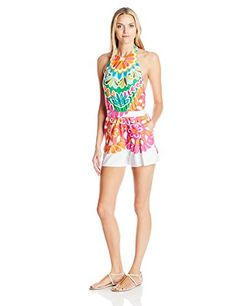 Trina Turk Women's Tamarindo High Neck Romper Cover Up, Multi, Large. Colorful romper featuring banded waist, side pockets, and halter strap with button closure. Detachable horizontal strap at back for optional added support. Removable soft cups.