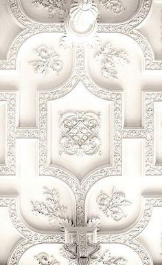 White detailed plaster ceiling