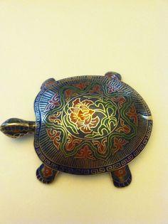Vintage Chinese Cloisonne Turtle Trinket jewelry Box Turtle tortoise brass | eBay