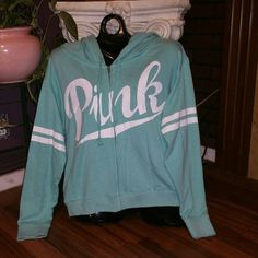 VS Pink Mint Green Hoodie Super cute VS Pink Hoodie in mint green! In perfect condition no rips or stains! *NO TRADES* PINK Victoria's Secret Tops Sweatshirts & Hoodies