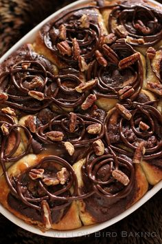 Gooey Turtle Brownie Sticky Buns > Willow Bird Baking Recipe for Gooey Turtle Brownie Sticky Buns: a shockingly decadent dessert that combines traditional cinnamon rolls and brownie batter. Köstliche Desserts, Delicious Desserts, Dessert Recipes, Turtle Brownies, Sticky Buns, What's For Breakfast, How Sweet Eats, Brownie Recipes, Sweet Bread