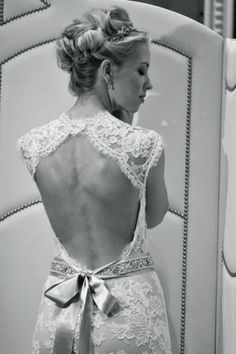 LOVE the lace, open back and bow!