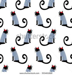 French style cat seamless pattern. Cute cartoon sitting parisian cat vector illustration. Child drawing style kitty background. French style dressed cat with red beret and striped frock.
