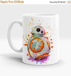ON SALE 20% OFF Bb-8 Star Wars 7 Coffee Mug, Tea Mug, Bb 8 watercolor art mug, Bb8 cup