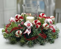 Peppermint Holiday Candle Holder Floral Centerpiece
