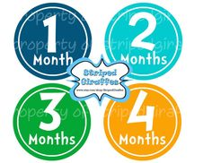 Boy Blue Month by Month Onesie Stickers Print at Home Baby Girl Baby Shower New Baby Printable Digital