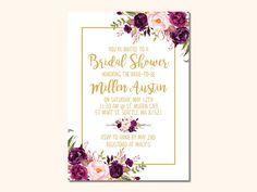 Elegant Bridal Shower Invitation Purple Flowers Bridal