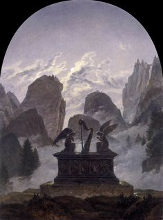 """Carl Gustav Carus, The Goethe Monument - a great admirer of Goethe, Carus's painting of an imaginary Goethe monument is described in a journal as follows. """"In a lonely rocky area stands Goethe's sarcophagus, and upon it a harp; moonlight falls through its strings, illuminating two angels who kneel reverently before it. Mists swirl around the base of the monument. It would seem that Goethe's manifold and magical contacts with Nature have inspired the ingenious artist to this Ossianic idea."""""""