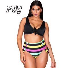 fab1e26884a 2017 Plus Size Women Bikini Set Floral Stripe Print Padded Push Up Bow Self  Tie