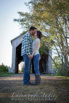 Engagement Photography Covered Bridge Tip toe kiss